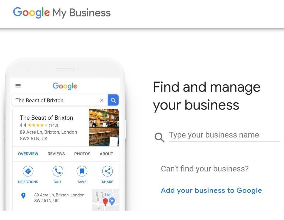 "A Screenshot of ""Google My Business"" Listing"