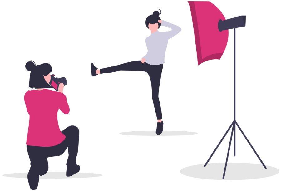 Woman posing for camera shoot